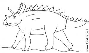 דף צביעה דינוזאור עם קרן
