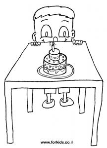 ילד עם עוגה לצביעה