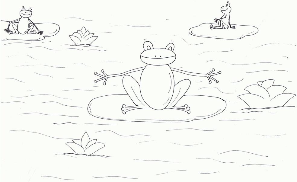 דף צביעה של צפרדעים בביצה