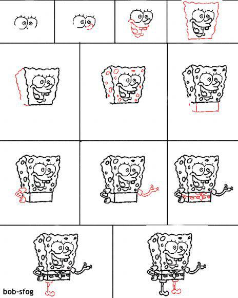 איך לצייר בוב ספוג