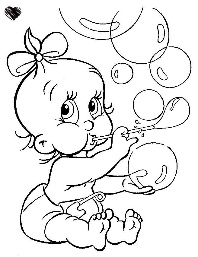דף צביעה-תינוקת ובלונים
