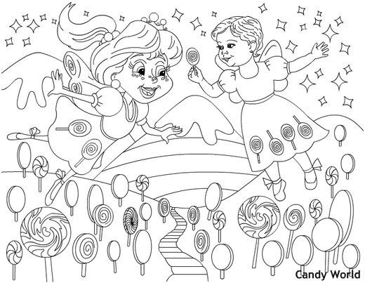 דף צביעה עולם ממתקים
