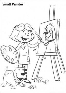 דף צביעה של ילדה מציירת