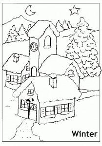 בתים בחורף- דף צביעה