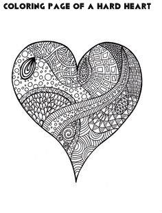 דף צביעה של לב קשה