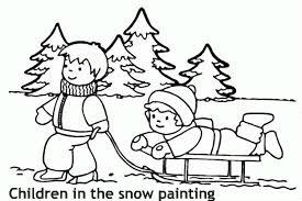 ילדים בשלג לצביעה