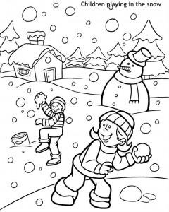 ילדים משחקים בשלג לצביעה