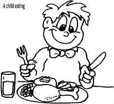 ילד אוכל דף צביעה
