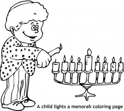 ילד מדליק חנוכייה- לצביעה