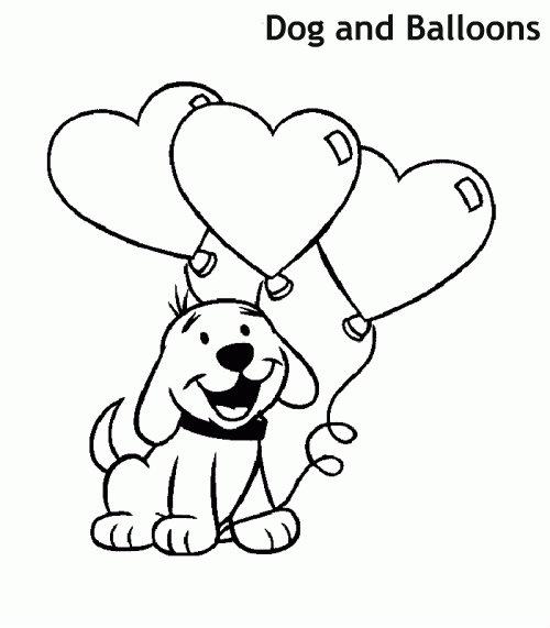 כלב ובלונים דף צביעה