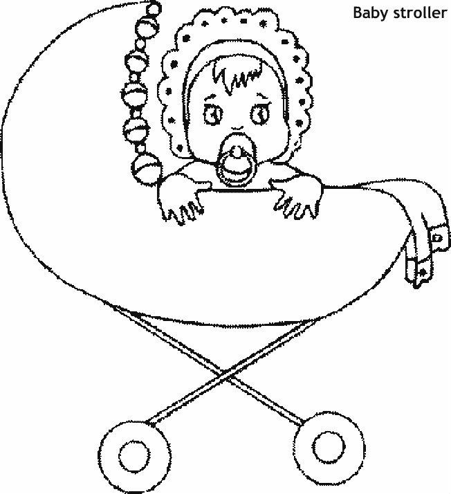 תינוקת בעגלה דף צביעה