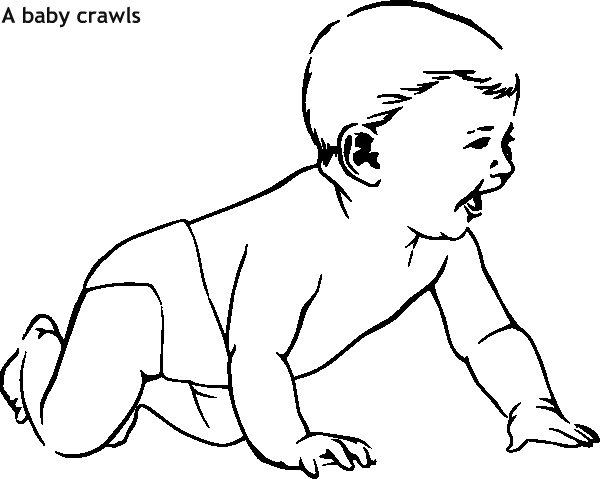 תינוק זוחל דף צביעה