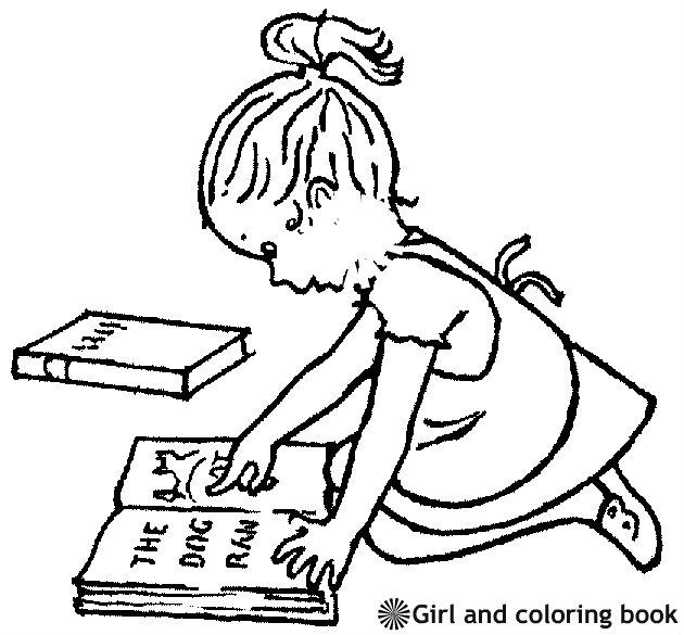 ילדה וספר דף צביעה