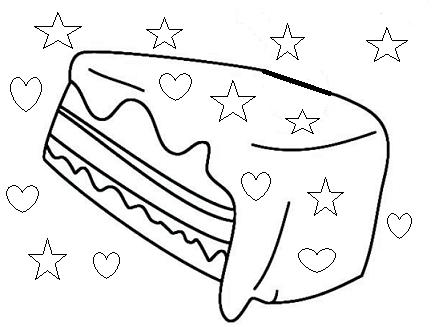 פרוסת עוגת שוקלד לצביעה